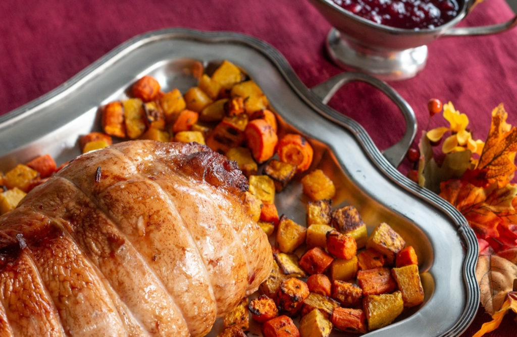 smoked turkey breast with cranberry and apple stuffing